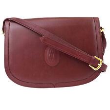 Authentic Must De Cartier Logos Shoulder Bag Leather Bordeaux Gold 07Z315