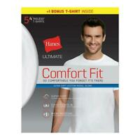 Hanes Ultimate Men's Comfort Fit White Crewneck Undershirt 5-Pack (4 + 1 Free Bo