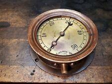Antique H. Belfield Gauge Philadelphia Pa 50 Pound Brass Dial Cast Iron Flange