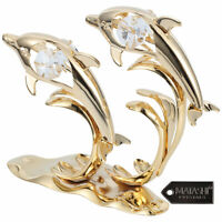 24K Gold Plated Crystal Studded Two Dolphins Riding Waves Standing Figurine