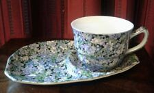 ART DECO SHABBY CHIC CHINTZ PATTERN CUP & SAUCER TENNIS STYLE UNMARKED