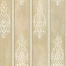 Ronald Redding Arabesque Motif Stripe in Sage, Yellow & White Wallpaper   AR7432