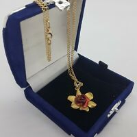 VINTAGE Red Rose Pendant Necklace Floral Textured Mid-Century Cute Dainty Kitsch