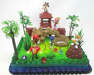 Sonic the Hedgehog Deluxe Birthday Cake Topper Set Featuring Sonic, Knuckles Amy
