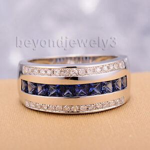 Solid 14K White Gold Diamond Sapphire Engagement Wedding Gemstone Band Ring