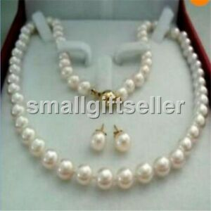 New Charming 7-8mm White Freshwater Cultured Pearl Necklace 18''+ Earring
