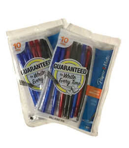 Paper Mate Ball Point Pens Capped 20 Ink Pen Bundle Blue Black Red Two 10 Packs