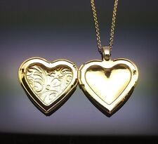 Gold Heart Photo Locket Pendant Necklace 14ct Gold GP Gift Girl Ladies Present
