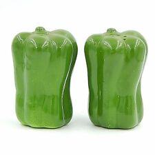 Green Peppers Vegetables Salt and Pepper Shakers Set Novelty Figural