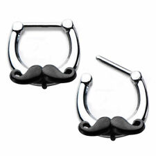 Steel Mustache Daith Rook Piercing 16G Septum Clicker Nose Ring 316L Surgical