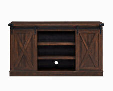Rustic Farmhouse Sliding Barn Door TV Stand Console Table Storage for Up To 65