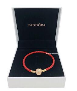 NEW 100% Authentic PANDORA Shine 18K Lucky Red Leather Charm Bracelet 568777C01