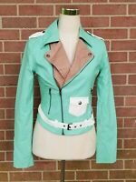 Womens Nameless Faux Leather Jacket  Mint Green /Beige Size S New without Tags!