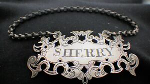 """An early Victorian  silver """"Sherry"""" decanter label, Nathaniel Mills 1849"""