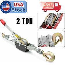 2 Ton Heavy Duty Ratchet Lever Hoist Hand Puller Come Along 2 Hooks Cable 4400lb