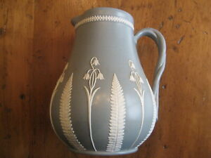 "Dudson Pottery Gray-Green Jasper Ware ""Fern and Bluebell"" Pitcher Jug c.19th C."