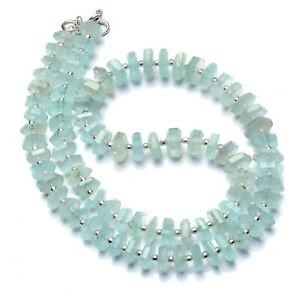 """Natural Gem Aquamarine Faceted 8 to 9mm Size Hex-Nut Shape Beads Necklace 17"""""""