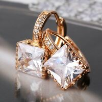 Attractive woman 18k gold filled white sapphire princess leverback earring