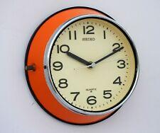Vintage Orange Maritime Slave Clock Navigation Quartz Seiko Japan Chrome Edge