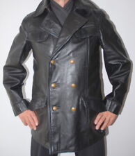 Man's Genuine German Police Officer Military Leather Coat Jacket 50 / UK 40 / M