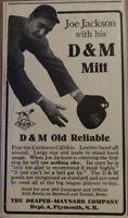 """Shoeless Joe Jackson 1915 Advertisement D&M Mitt Baseball Glove- 4.5""""X2.5""""-RARE"""