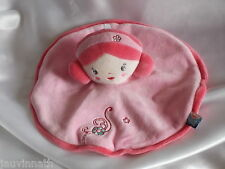 Doudou fille rose, broderies, rond,  Sucre d'Orge