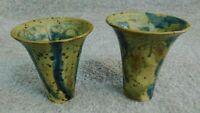 Early/ Mid 20th Century Studio Art Pottery Thrown Ku Vases Splattered Ash Glaze