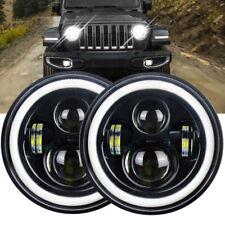 2Pcs 7 Inch Round LED Headlights Halo Angle Eyes for Jeep Wrangler JK LJ TJ Moto