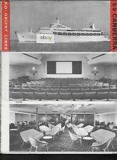 P & O ORIENT LINES DECK PLANS & BROCHURE S.S.CANBERRA FIRST CLASS 1960'S