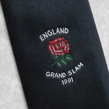Vintage RUGBY Tie Mens Necktie Retro Sport ENGLAND RFU GRAND SLAM 1991
