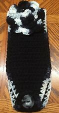 Acrylic Handmade Crochet Headband Black with Flower, Teen/Adult