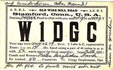 QSL Card STAMFORD CONN. USA 1934 Funk Karte Radio W1DCG    ( 80471