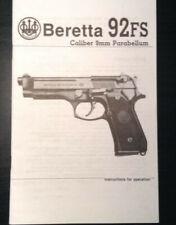 Beretta 92FS Caliber 9mm Parabellum Pistol Gun Instruction and Parts Manual