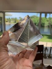RARE ART DECO CLEAR RIBBED GLASS ASHTRAY SCULPTURE