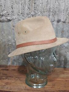 Vintage Broner Genuine Suede Leather M Khaki Safari Hat Hunting Cap 🇺🇸 Buck