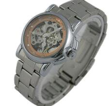 Women Ladies Dress Watch Skeleton Mechanical Stainless Steel Wristwatch Bracelet