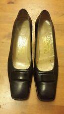Authentic Salvatore Ferragamo, Solid Black, Leather, Classic Pumps (Size 6.5)