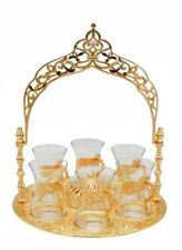 8 Pc Traditional Turkish Style Tea Serving Set Istikana with Arched Tray Gold