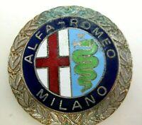 Classic 40s Chrome Wreath Cloisonne ALFA ROMEO MILANO Crest Nickel Silver Ring