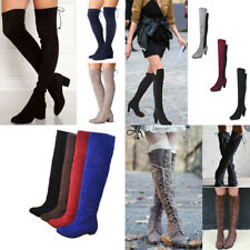Women's Ladies Thigh High Boots Over The Knee Party Stretch Block Med Heel Shoes