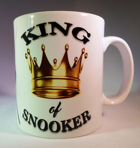 """KING OF SNOOKER"" WHITE GLAZED CERAMIC 11OZ MUG.SNOOKER MUG GIFT/PRESENT"
