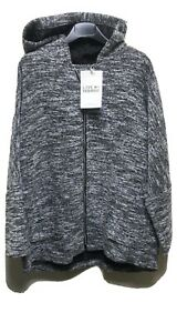 BNWT Love My Fashion Grey/White Zipped Hooded Top One Size