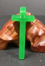 CHINESE Icy Green JADE PENDANT Jesus Cross Amulet 238624