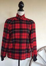 Vtg PENDLETON Red Black Tartan Plaid Wool Lined Bomber Jacket Coat Men S Woman L