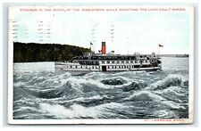 Postcard Steamer in the Midst the Maelstrom, Sault Rapids St Lawrence River F39