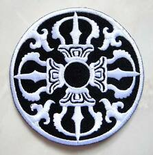 Beautiful Black & White Design Round Embroidered Iron on Patch Free Postage