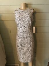 Calvin Klein Black White Tweed ZIP Gold button Sheath Dress. NWT $119