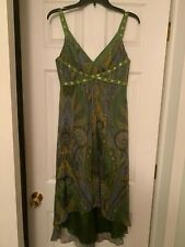 LAUNDRY by Shelli Segal Green/Gold Paisley Silk Bead/ Sequin Cocktail Dress 2