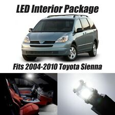For 04-10 Toyota Sienna White Premium LED Interior + Reverse Package Kit Qty=19