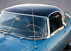 Jaguar XKE E Type Semi Retractable Cowl Mount AM FM Radio Chrome Antenna Aerial